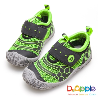 Dr. Apple 機能童鞋 帥氣LOGO印刷透氣中童鞋-綠