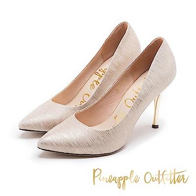 Pineapple Outfitter 華麗年代 高質感羊皮紋面高跟鞋-金色
