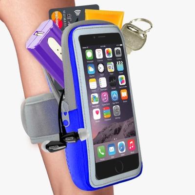 雙層運動手機臂套-防水反光觸控-藍色X5.7吋以下通用 活力揚邑