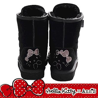 HELLO KITTY X Ann'S毛茸茸單色刺繡前綁緞帶蝴蝶結真皮雪靴  黑