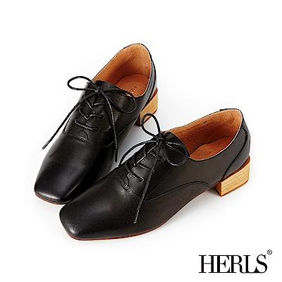HERLS 輕甜復古 全真皮素面方頭粗跟牛津鞋-黑色