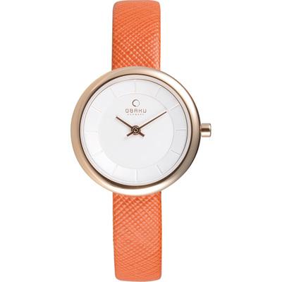 OBAKU 雅悅媛式時尚腕錶-玫瑰金框x橘色錶帶/27mm