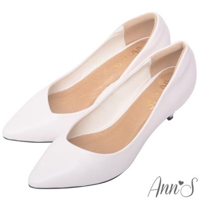 Ann'S 漫步華爾滋 素色品味斜口低跟舒適尖頭鞋 白