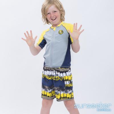澳洲Sunseeker泳裝抗UV防曬短袖泳衣-大男童上衣/淺灰