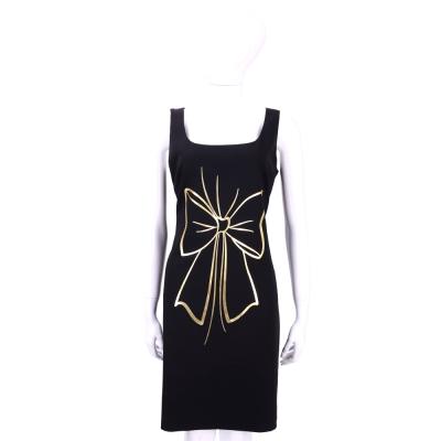 BOUTIQUE MOSCHINO 黑色燙金蝴蝶結圖印無袖洋裝