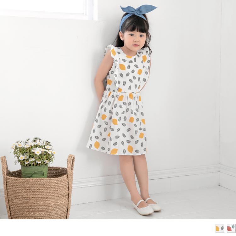 清爽感檸檬配色高棉荷葉無袖洋裝
