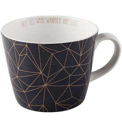 CreativeTops Earlstree燙金骨瓷馬克杯 幾何黑450ml
