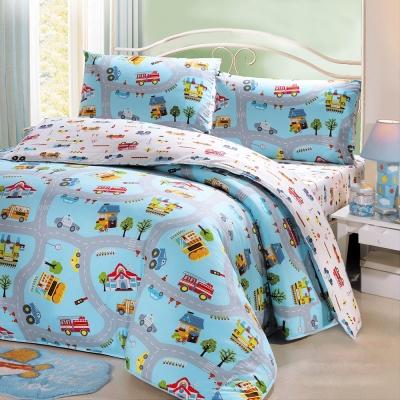 鴻宇HongYew 100%美國棉 防蹣抗菌-交通樂園 單人床包枕套兩件組