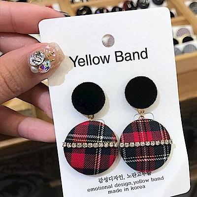 梨花HaNA 韓國經典復古菱格紋布質水鑽點綴耳環