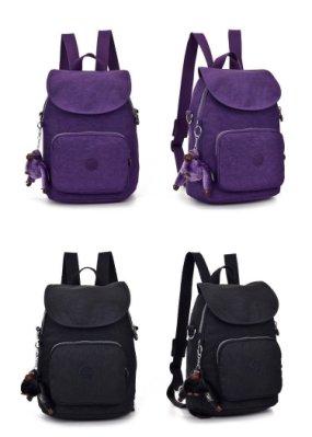 代購 KIPLING 雙肩後背包休閒背包 CARAF 可斜背 K12075 亮紫 黑色 賣場另有多色
