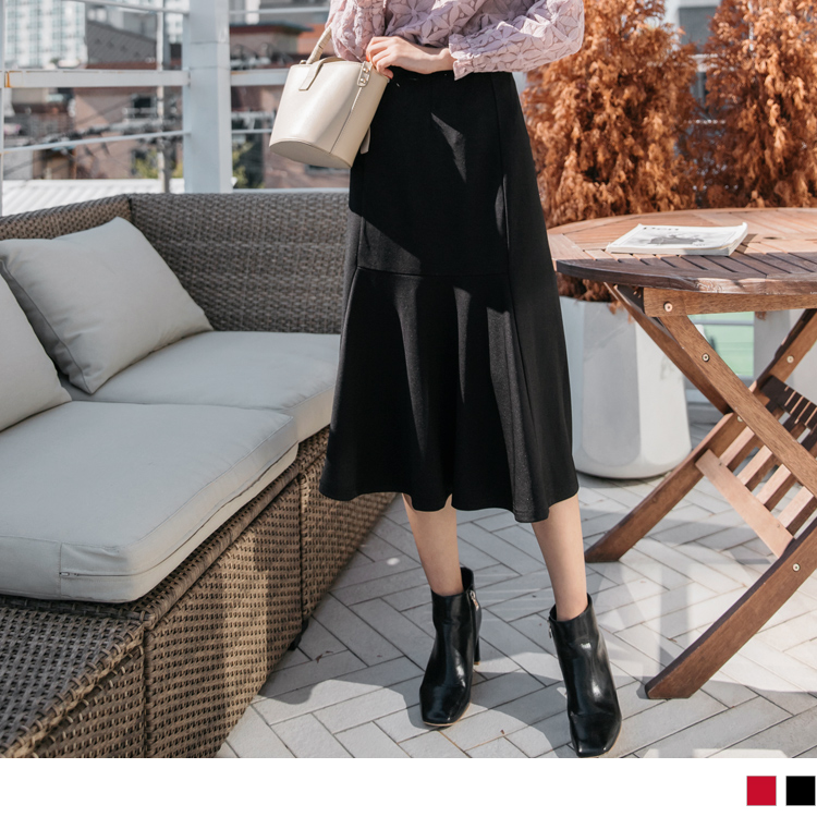 兩穿式不規則開衩設計中長包裙