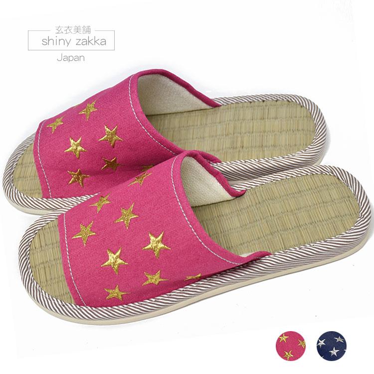 室內拖鞋-日本草蓆 星星圖樣23~24-粉/藍-玄衣美舖