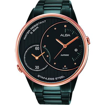 ALBA 街頭酷玩家二地時間腕錶(AZ9012X1)-鍍黑/45mm