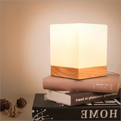 純原木打造燈具底座北歐簡約創意磨砂玻璃燈罩暖光燈無頻閃檯燈USB電源 5V安全電壓
