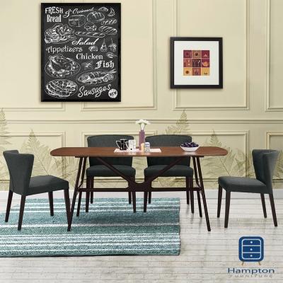 漢妮Hampton華倫6尺餐桌椅組-1桌4椅-180x90x75cm