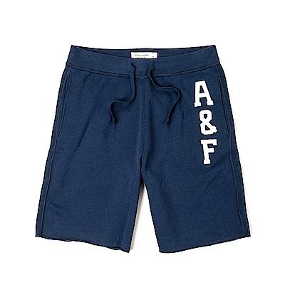 麋鹿 AF A&F 經典標誌運動休閒短棉褲-深藍色