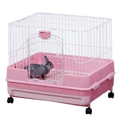 日本Marukan 新款高挑 抽屜式精緻兔籠 粉色(MR-976)
