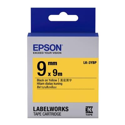EPSON C53S653404 LK-3YBP粉彩系列黃底黑字標籤帶(寬度9mm)
