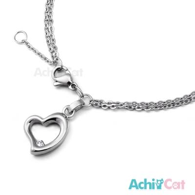 AchiCat 珠寶白鋼手鍊 時尚愛心
