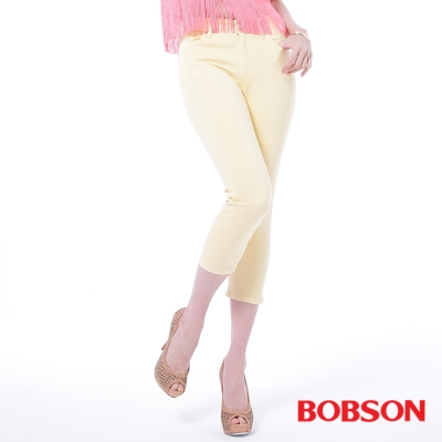 BOBSON   女款高腰膠原蛋白七分褲-米黃
