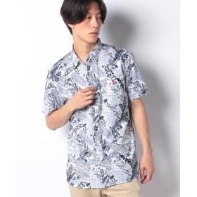 ジョルダーノ [GIORDANO]コットンリネン半袖シャツ メンズ パターン1 M 【GIORDANO】