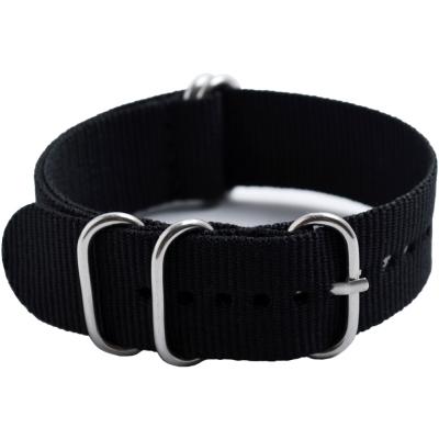 軍規五環尼龍織布錶帶-黑色