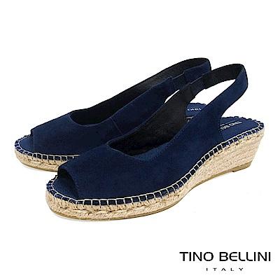 Tino Bellini 西班牙進口簡約麂皮魚口麻編楔型涼鞋  A83043