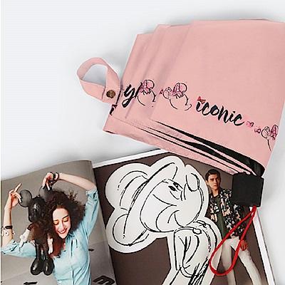 迪士尼 Disney 抗UV 黑膠晴雨三折傘_俏麗米妮(深粉)