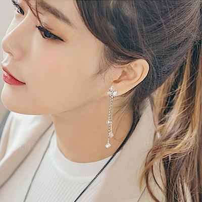 梨花HaNA 無耳洞韓國925銀針皓石質感方晶流蘇耳環夾式