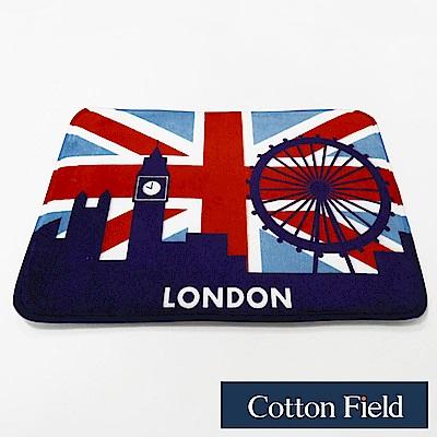 棉花田 英倫風 法蘭絨防滑踏墊-倫敦眼摩天輪(二件組)
