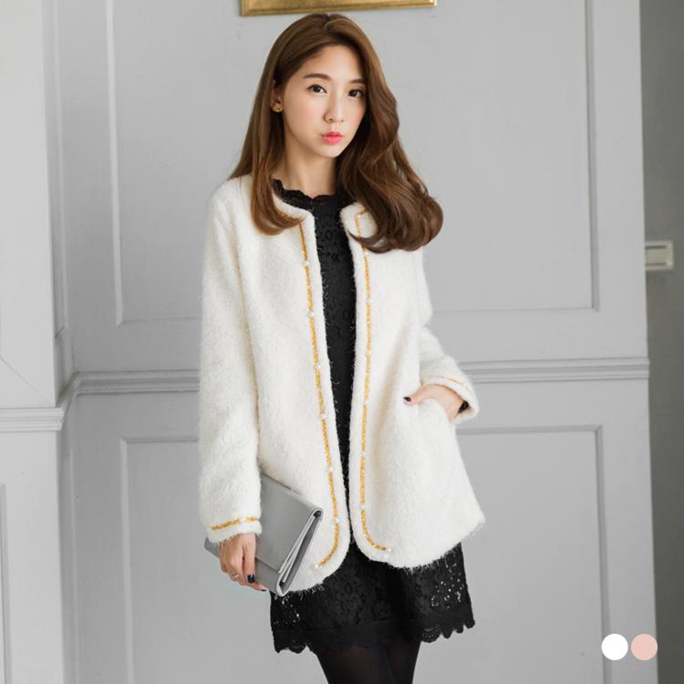 素色珍珠毛金線滾邊綴珍珠造型開襟寬鬆外套.2色