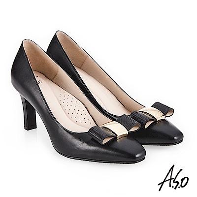 A.S.O 阿瘦 義式簡約 優雅蝴蝶結釦高跟鞋 黑 10027000650-99