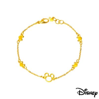 Disney迪士尼系列金飾 黃金手鍊 縷空米奇款