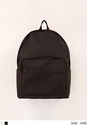 韓國空運 - 網狀口袋素色拉鍊後背包
