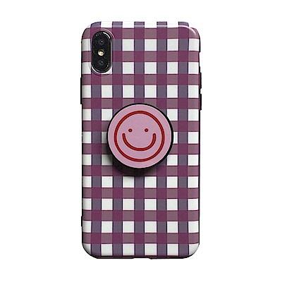 【TOYSELECT】iPhone X/Xs 格紋笑臉氣囊支架手機殼:粉白
