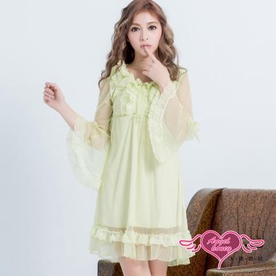 居家睡衣 清秀洋溢 長袖一件式連身氣質層次睡衣(綠F) AngelHoney天使霓裳