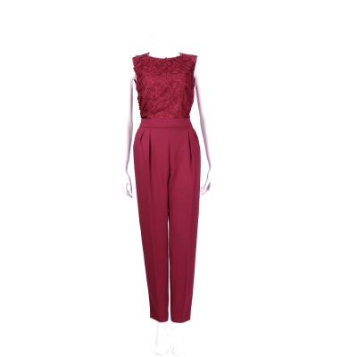 Max Mara 紅色立體繡花拼接兩件式套裝