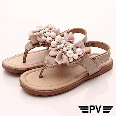 PV日系私藏 緞帶珍珠夾腳鞋款 8532卡其(中小童段)