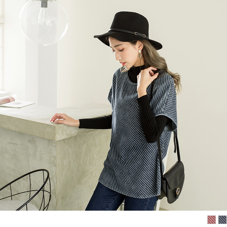 立體感豎壓紋圓領寬鬆上衣
