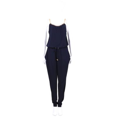 Michael Kors 深藍色鍊飾邊綁帶連身長褲