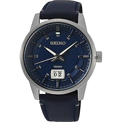 SEIKO精工 CS 城市系列大日期視窗手錶(SUR287P1)-藍/40mm