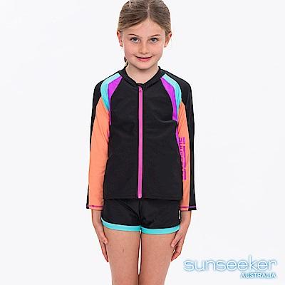 澳洲Sunseeker泳裝抗UV防曬長袖立領剪接一件式泳衣外套-大女童加大
