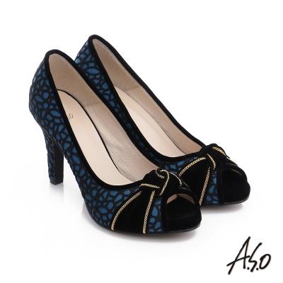 A.S.O 璀璨注目 蕾絲緞布絨面魚口高跟鞋 藍