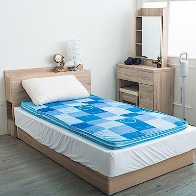 戀戀鄉 (單人3尺)歐式英格蘭風格格紋冬夏兩用床墊-天藍格紋