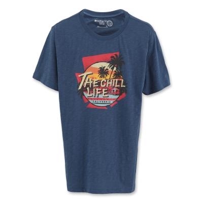 Hang Ten - 男裝 - 有機棉 沙灘斜陽印圖T-Shirt-藍
