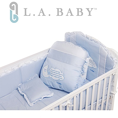 ( 美國 L.A. Baby) 許願星純棉七件式寢具組(M)( 藍色/粉色)
