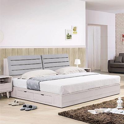 品家居 可思5尺雙色皮革雙人二抽床台組合(不含床墊)-151.5x221x94cm免組
