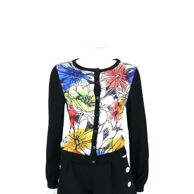 BOUTIQUE MOSCHINO 黑色花朵塗鴉針織外套
