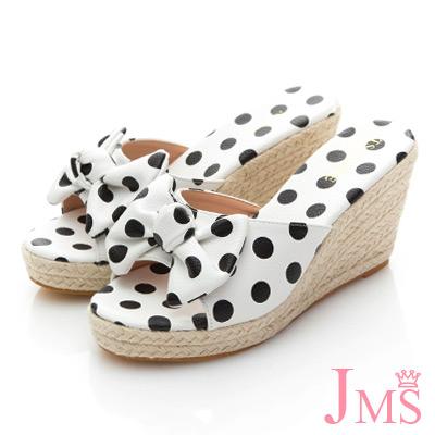 JMS-波點蝴蝶結魚口楔型涼拖鞋-白色