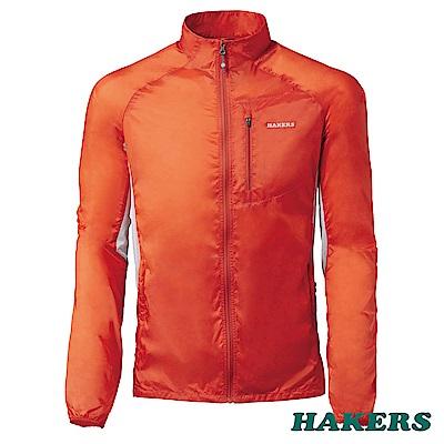 【HAKERS 哈克士】男-超輕量防風外套(火橘)